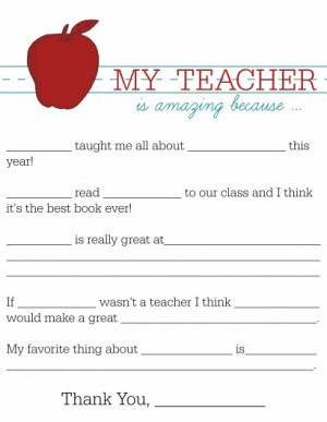 All About My Teacher Writing Activity