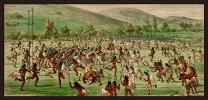 Red skins verses white skins- in a panting by George Catlin.