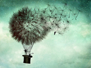 flying, hat, phantasy, surrealism