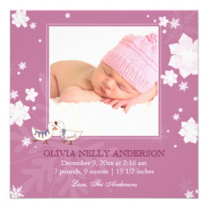 Christmas Winter Baby Girl Pink Birth Announcement from Zazzle.com