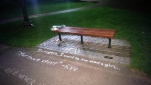 ... Williams have scrawled quotes by a bench featured in Good Will Hunting