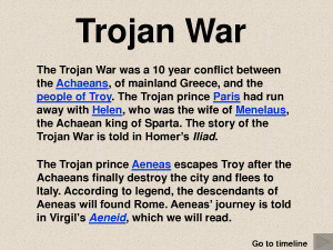 a summary of the events of the trojan war Summary the trojan war is the most famous conflict in history, the subject of homer's iliad, one of the cornerstones of western literature although many readers know that this literary masterwork is based on actual events, there is disagreement about how much of homer's tale is true.