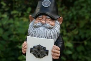 BIKER GARDEN GNOME Loves His Harley Davidson - Personalized Free
