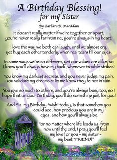 sister's birthday prayer | Affordable Inspirational Poem for Sister ...