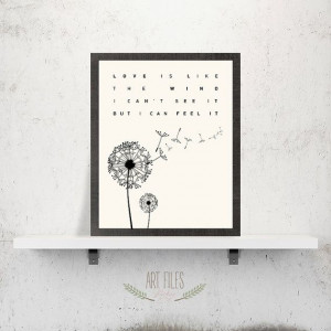 Quote Print, Printable Wall Art, Love is like the wind ... quote, wall ...