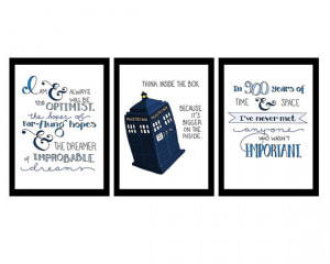 Doctor Who quotes SET OF THREE, inspirational art, 5x7 digital ...