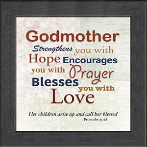 Godmother, Inspirational Saying Framed Gift Words of Gratitude ...