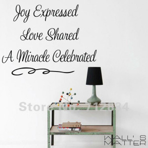... Christmas Decor Joy Love and Miracle Wall Stickers Wall Quote Decals