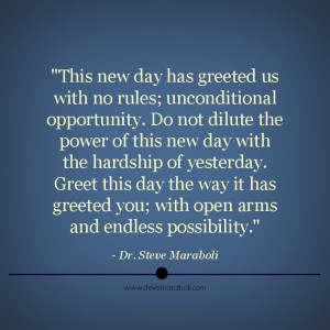 This new day has greeted us with no rules; unconditional opportunity ...