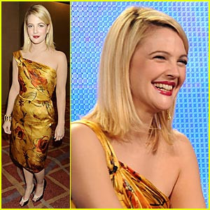 Drew Barrymore rocks out a yellow one-shoulder Alberta Ferretti dress ...