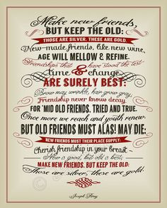 New Friends, Old Friends Joseph Parry Quote - INSTANT DOWNLOAD ...