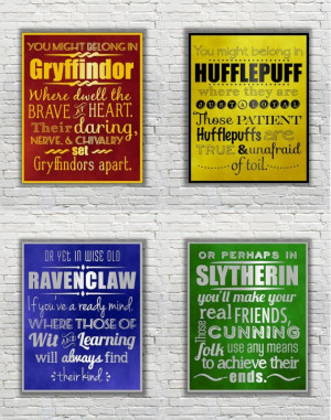 Harry Potter Typography Quote - The Four Hogwarts Houses according to ...