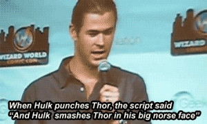 Avengers - Hulk smashes Thor in his big Norse face