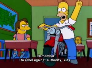 the simpsons simpsons homer homer simpson school kids rebel authority