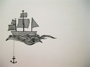 anchor, boat, cute, drawing, waves
