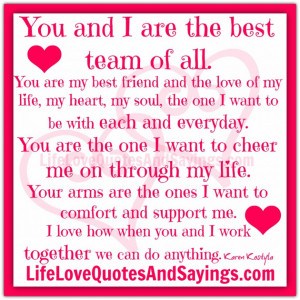 Quotes About Husband Love: You And I Are The Best Team Of All Quote ...