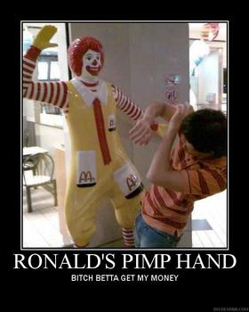... think ronald mcdonald could handle the crying girl and pimp slap her