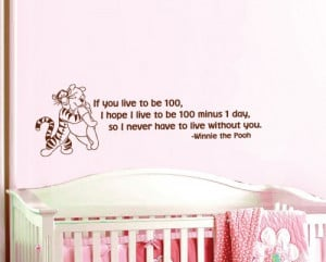Winnie the Pooh Tigger If you live to be 100 Quote Wall Word Decal