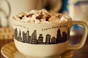 chocolate, coffee, cup, cute, drink, empire state building