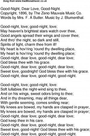 American Old Time Song Lyrics: 52 Good Night Dear Love Good Night