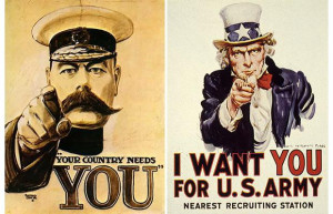 WW1 recruitment poster featuring Kitchener, and US recruiting poster ...