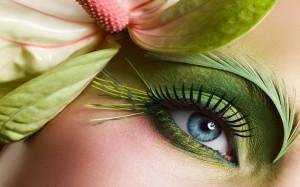 Beautiful Blue Eyes Green Makeup HD Wallpaper