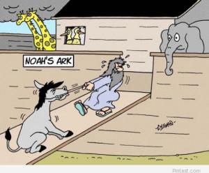 Funny Noah`s ark cartoon