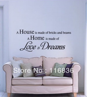 ... home is made of love and dreams quote wall decal vinyl decal home room