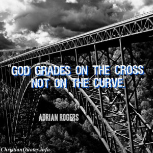 Adrian Rogers Quote - The Cross - railroad track in black and white