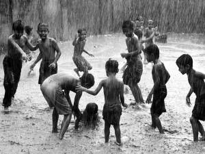 Children Playing in Rain, Bangladesh