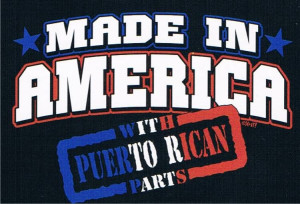 MADE IN AMERICA WITH PUERTO RICAN PARTS Humor Funny Tee