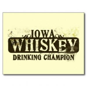 Iowa Whiskey Drinking Champion Postcard