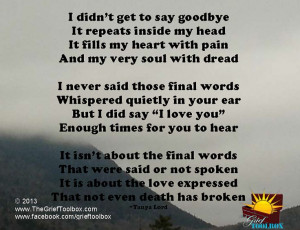 Not goodbye instead I Love you - A Poem