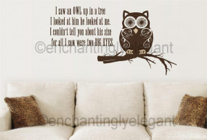 Saw-An-Owl-Up-In-A-Tree-Vinyl-Decal-Wall-Sticker-Teen-Room-Kitchen ...