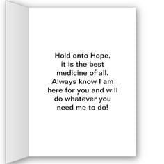 Healing Power of Hope Cancer Encouragement Card