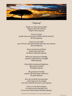 Poster of Mother Teresa's Anyway Poem - Available Sizes (8x10) (11x14 ...