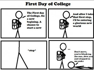 my first day college My first day at college is an important event of my life to me it is an unforgettable day during my school days i had a glimpse of college life from my elder brothers and sisters.