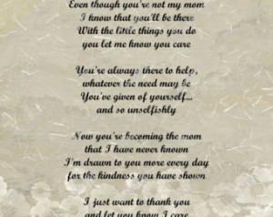 Second Mom Love Poem for Stepmom 8 X 10 Print Digital INSTANT ...