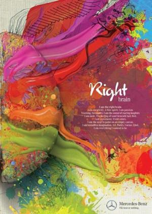 am the right brain. I am creativity. A free spirit. I am passion ...