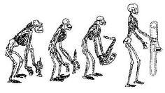 evolution of trombone player, Trumpet, clarinet, sax, trombone ...
