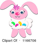 Of A Pink Easter Bunny With Jelly Beans Royalty Free Vector Clipart ...