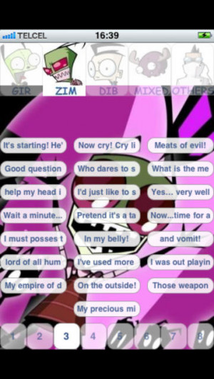 Gir & Zim invader Dib Gaz - 880 Sounds And Quotes. - iPhone Mobile ...