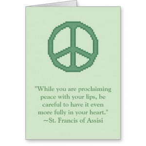 St. Francis of Assisi Peace Quote Notecard Stationery Note Card