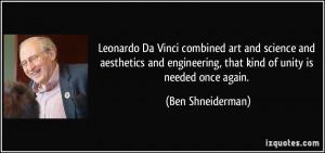 Leonardo Da Vinci combined art and science and aesthetics and ...