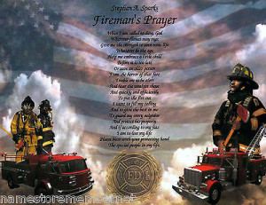 Fireman's Prayer/Poem Personalized Print **2 ART BACKGROUNDS TO CHOOSE ...