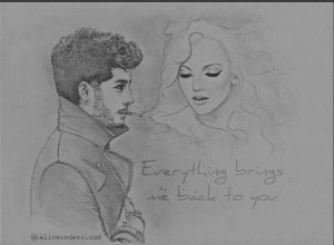 beautiful, drawing, perrie edwards, quotes, zayn malik