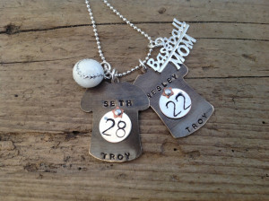 Cute Baseball Quotes Baseball mom necklace with two
