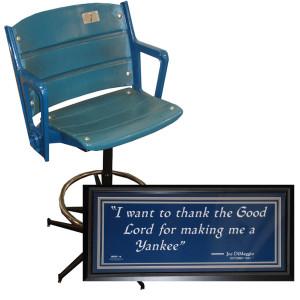Authentic Original Yankee Stadium Single Seat Bar Stool + Joe DiMaggio ...