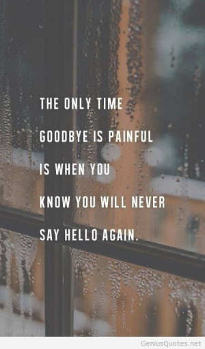The only time goodbye is painful is when you know you will never say ...