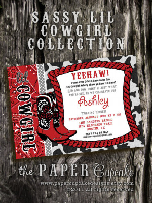 Printable Invitation Design - Sassy Lil' Cowgirl Collection - Red ...